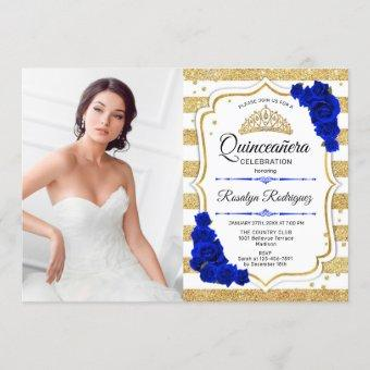 Quinceanera Party With Photo - Gold Royal Blue Invitation