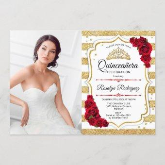 Quinceanera Party With Photo - Gold White Stripes Invitation