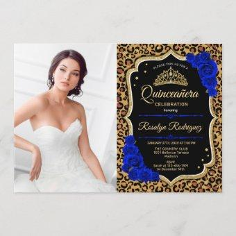 Quinceanera Party With Photo - Leopard Print Blue Invitation