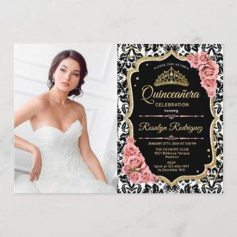 Quinceanera Party With Photo - Pink Gold Black Invitation