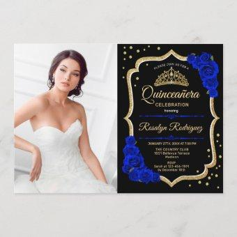Quinceanera Party With Photo - Royal Blue Gold Invitation