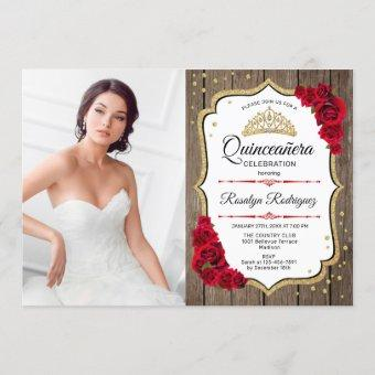 Quinceanera Party With Photo - Rustic Wood Gold Invitation