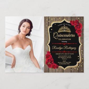 Quinceanera Party With Photo - Rustic Wood Red Invitation