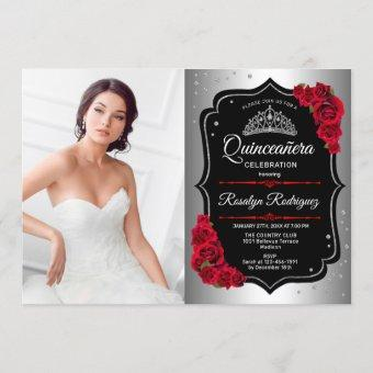 Quinceanera Party With Photo - Silver Black Red Invitation
