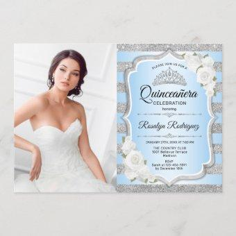 Quinceanera Party With Photo - Silver Blue Invitation