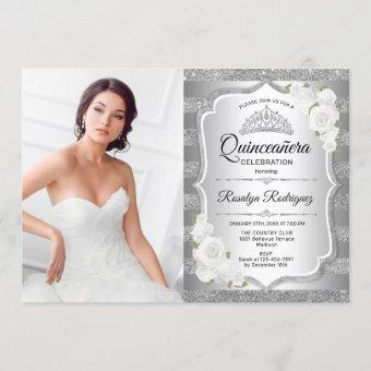 Quinceanera Party With Photo - Silver Invitation