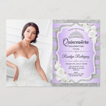 Quinceanera Party With Photo - Silver Purple Invitation