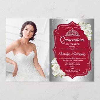 Quinceanera Party With Photo - Silver Red Invitation