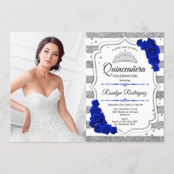 Quinceanera Party With Photo - Silver Royal Blue Invitation