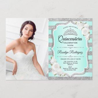 Quinceanera Party With Photo - Silver Turquoise Invitation
