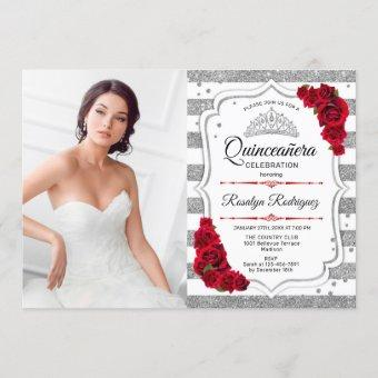 Quinceanera Party With Photo - Silver White Red Invitation