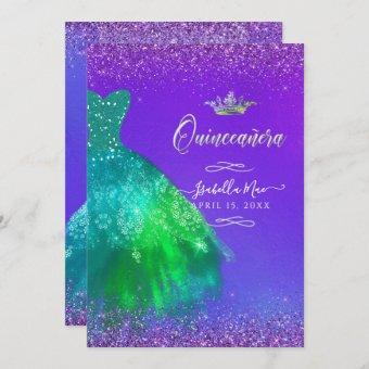 Quinceanera Peacock Teal Ombre Glitter Gown Invitation