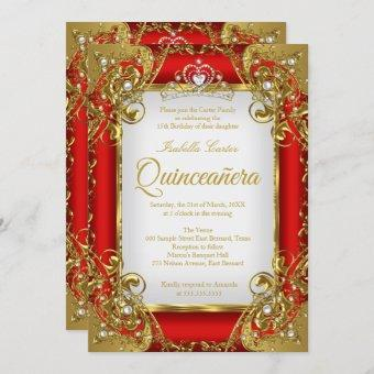 Quinceanera Photo Red Golden Pearl Tiara Party Invitation