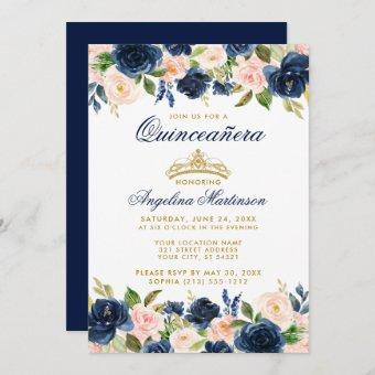 Quinceanera Pink Blue Floral Crown Gold Invite