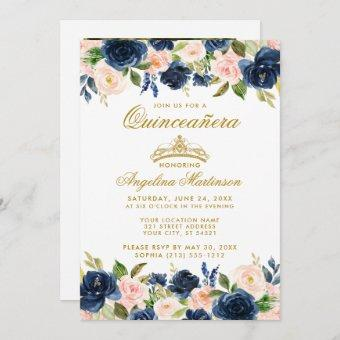 Quinceanera Pink Blue Floral Gold Crown Photo Invitation