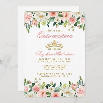 Quinceanera Pink Blush Floral Gold Crown Photo Invitation