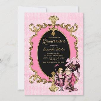 Quinceanera Pink Gold Alice In Wonderland Party Invitation