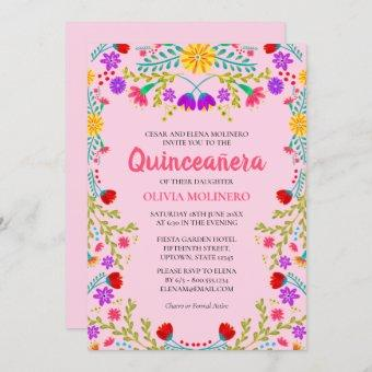 Quinceanera Pink Mexican Floral 15th Birthday Invitation