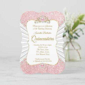 Quinceanera Pink Pearls Gold tiara birthday Party Invitation