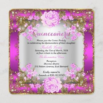 Quinceanera Pink Vintage Country Floral Gold Invitation