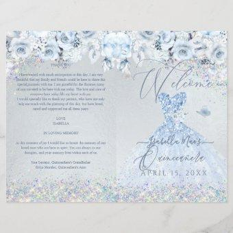 Quinceanera Program Baby Blue Floral Glitter Gown