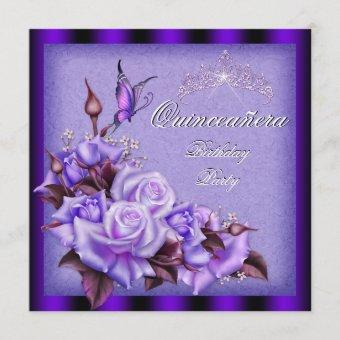 Quinceanera Purple Roses Butterfly Floral Invitation