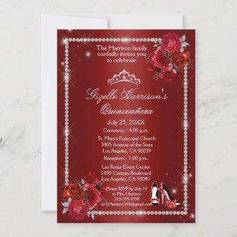 Quinceanera Red and Silver Floral Elegant Invitation