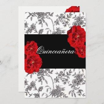 Quinceanera, Red Roses Invitation / Sweet Sixteen,