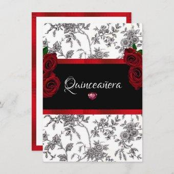 Quinceanera Red Roses Red Satin Black White Toile Invitation