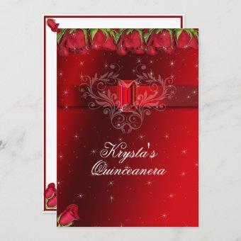 Quinceanera Red Roses, Sparkle Stars Red Ruby Invitation