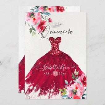 Quinceanera Red Sparkle Gown Watercolor Flowers Invitation