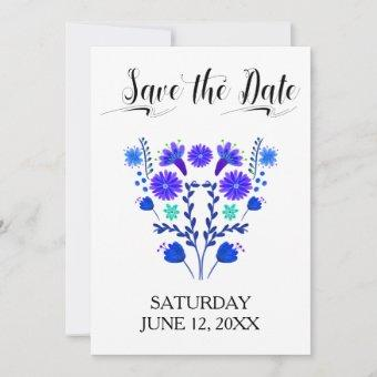 Quinceanera Royal Blue and Purple Mexican Floral Save The Date