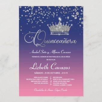 Quinceanera Royal Pale Pink Silver Glitter Spanish Invitation