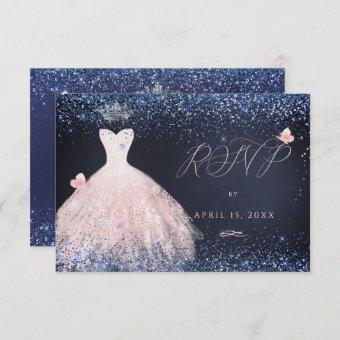 Quinceanera RSVP Butterfly Blush Gown Navy In Invitation