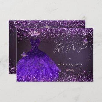 Quinceanera RSVP Butterfly Ultra Violet Gown Invitation