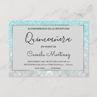 Quinceanera RSVP Teal Blue Girly Glitter Sparkle Invitation