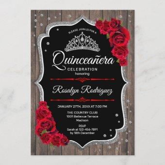 Quinceanera - Rustic Wood Silver Red Invitation
