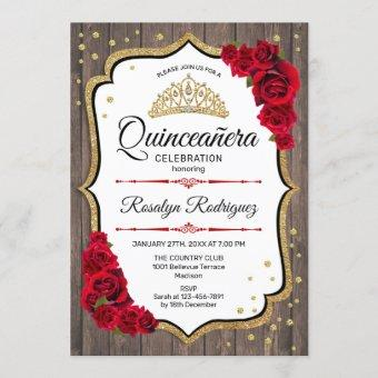 Quinceanera - Rustic Wood White Red Gold Invitation