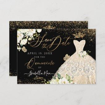 Quinceanera Save the Date Gold Faux Glitter Gown Invitation