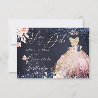 Quinceanera Save the Date Rose Gold Ombre Gown Invitation