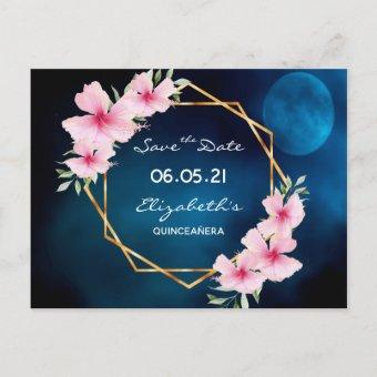 Quinceanera save the Date tropical blue moon Postcard