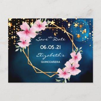 Quinceanera save the Date tropical blue sky stars Postcard