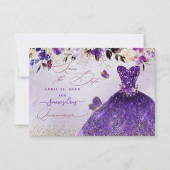 Quinceanera Save the Date Violet Purple Dress