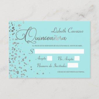 Quinceanera Spanish Response Card Blue Silver RSVP