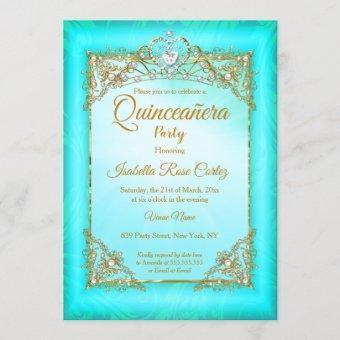 Quinceanera Teal blue pearl photo Gold Tiara party Invitation