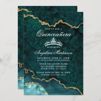 Quinceanera Teal Gold Marble Agate Geode Invitation