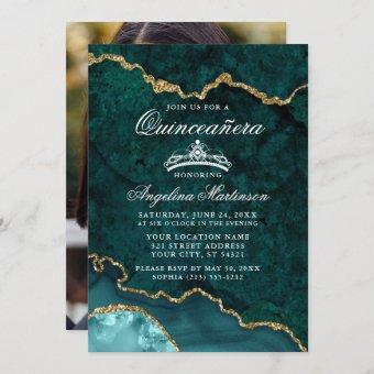 Quinceanera Teal Gold Marble Agate Geode Photo Invitation