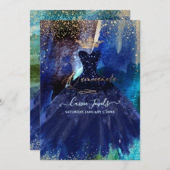 Quinceanera Teal Navy Blue Watercolor Gown Invitation