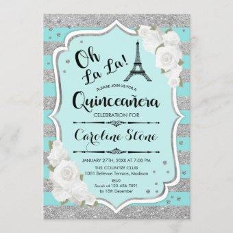 Quinceanera - Teal Silver French Style Invitation