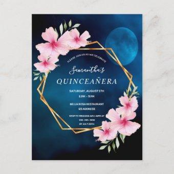 Quinceanera tropical blue sky moon invition postcard